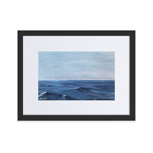 'From the port of Valencia' framed matte print with mount (30x40cm frame)
