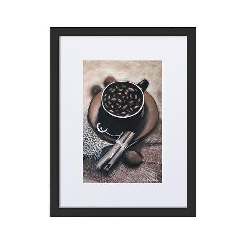 'Café', impresión mate enmarcada con paspartú (marco 30x40cm)