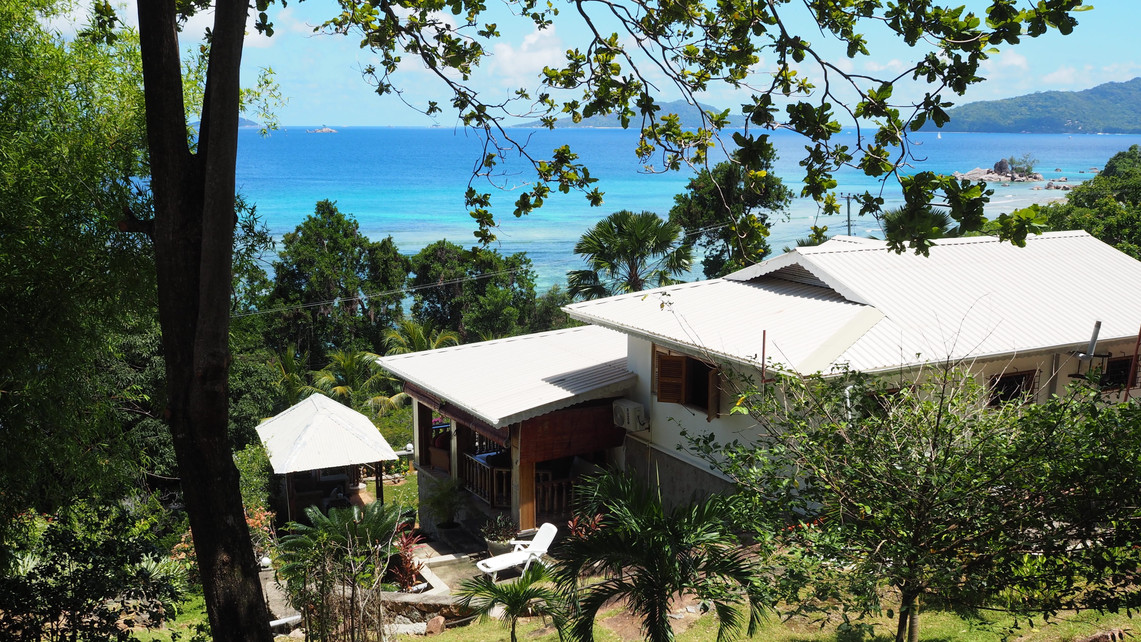 View of Bijou Villa, covered terrace, rear sun patio and large outdoor BBQ