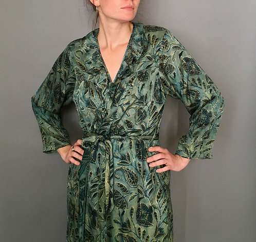 Silk Block Print Dressing Gown