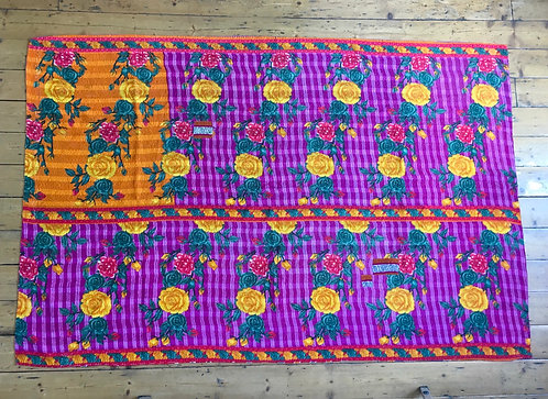 Vivid Purple Floral Vintage Kantha Quilt