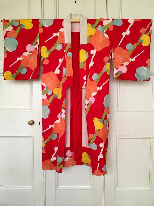 Red Vintage Silk Japanese Kimono