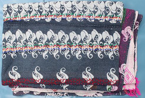 Vintage Kantha Quilt - Black /White