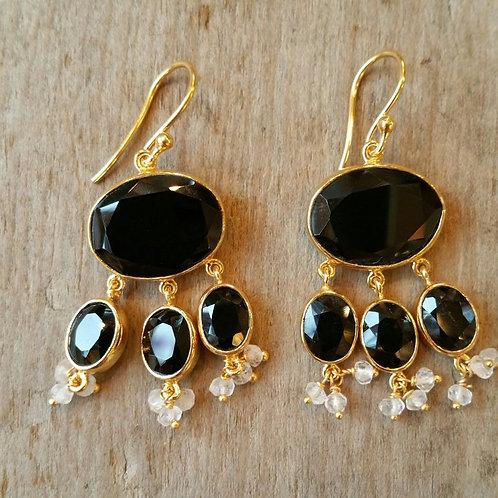 Black Onyx Chandelier earrings with beaded drops