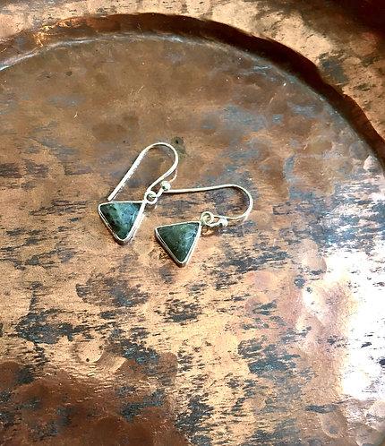 Labradorite silver triangle earrings