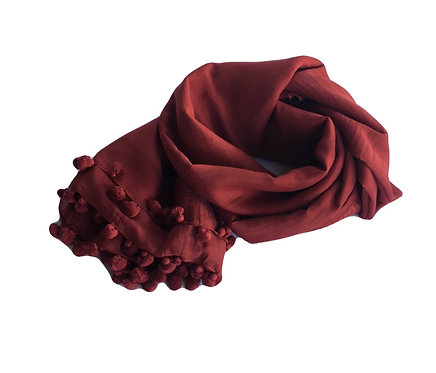 Printed Pom Pom Cotton Scarf