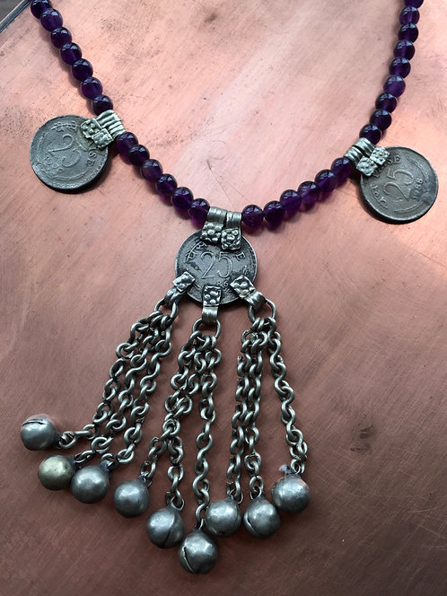Amythest Beaded Vintage Coin Necklace