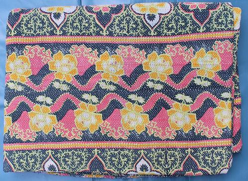 Vintage Kantha Quilt - Green and Pink