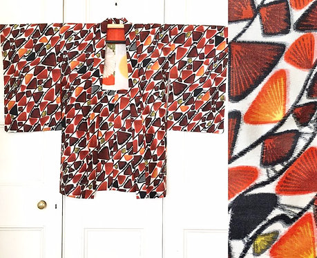 Abstract Fan Printed Japanese Kimono