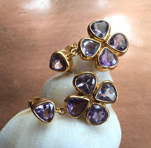 Clover Leaf Pale Amethyst Earrings