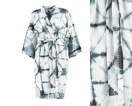 White and Indigo Dyed Cotton Kimono Robe