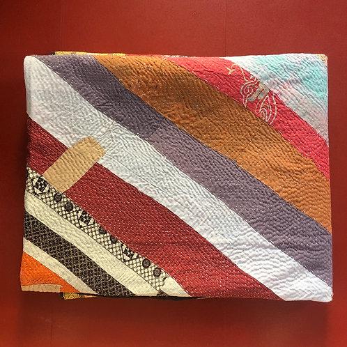 Vintage Diagonal Patchwork Kantha Quilt