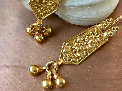 Indian Embossed Tribal Gold Plated Earrings