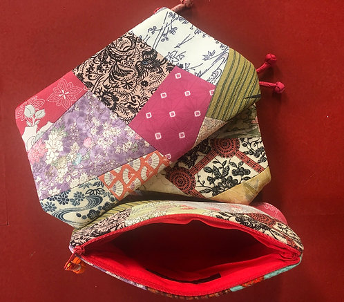 Silk Patchwork Pouch - Large