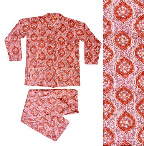Block Printed Cotton Pyjamas - Reds/Pinks