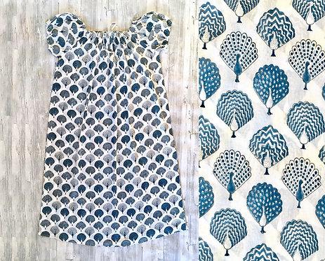 Drawstring Full Length Night dress : Peacock Print