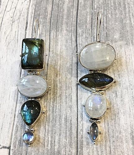 Silver Semi-precious Bold GeometricThree Stone Studs