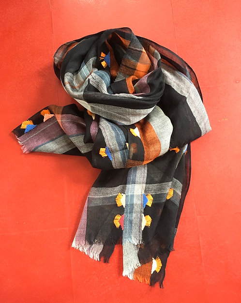 Black Plaid Scarf with Hand Embroidery