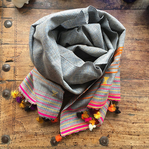 Hand woven cotton scarf - grey / flourescent