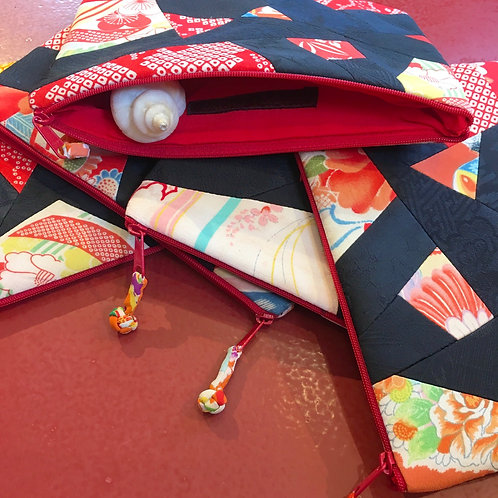 Patchwork Silk Pouch-large