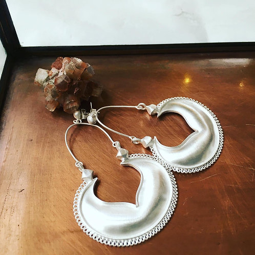 Crescent Brushed Silver Earrings