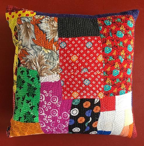 Fabulous patchwork vintage Kantha quilt cushion