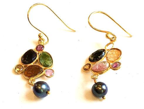 Tourmaline and Black Pearl Earrings