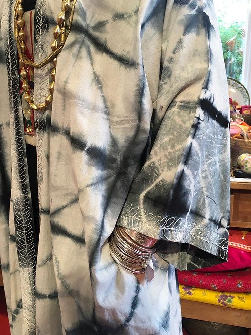 Shibori Indigo Grey Cotton Kimono