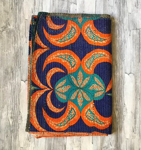 Abstract Vintage Kantha Quilt-Blue,Orange,Turquoise.