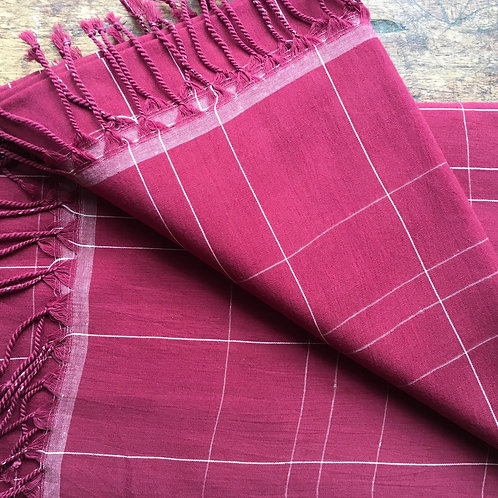 Hand Woven Cotton Plaid Scarf