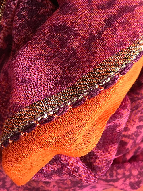 Printed Wool Scarf With Sequin Detail
