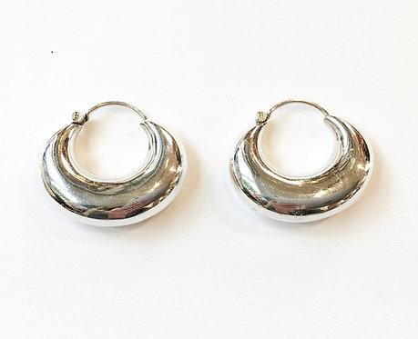 Cashew Shape Sterling Silver Hoops