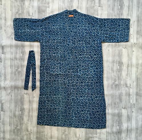 Indigo Floral Kimono Cotton Dressing Gown