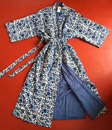 Quilted Cotton Kimono Dressing Gown - Indigo