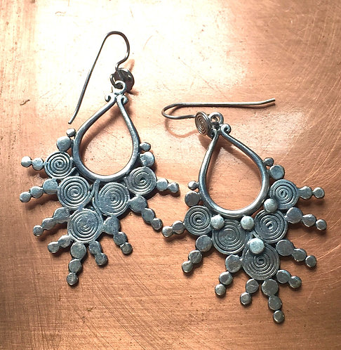 Tribal Sterling Silver Swirly Earrings