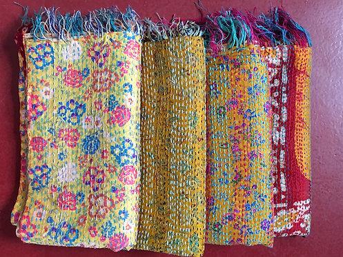 Upcycled Silk Sari Kantha Scarves - Golds