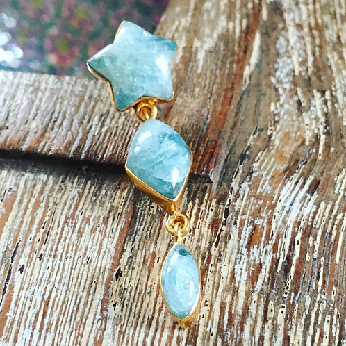 Aquamarine Star Drop Earrings