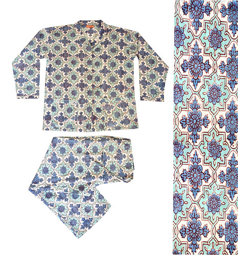 Block Printed Cotton Pyjamas - Blues