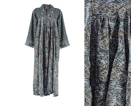 Beautiful Block Printed Cotton Dress- Grey/Mustard