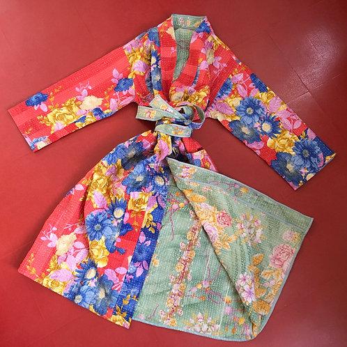 Kantha Robe - Blue /Red/Pink Floral