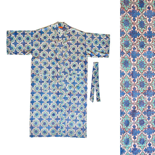 Cotton Block Print Dressing Gown -Blue
