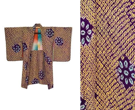 Vintage Silk Rainbow Haori Shibori Kimono