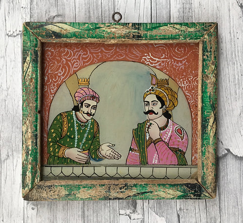 Vintage reverse glass painting -Whispering Pair