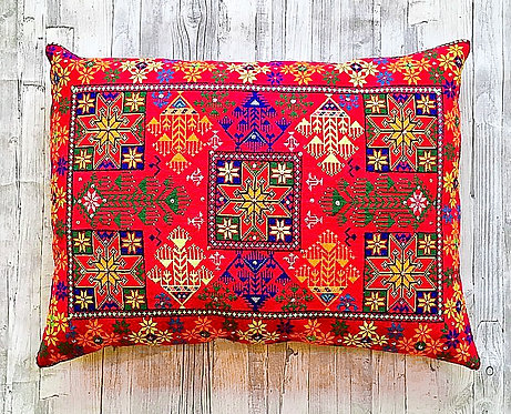 Afghan Cross-Stitched Cushion with Sequins