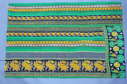 Vintage Kantha Quilt - Green Stripe
