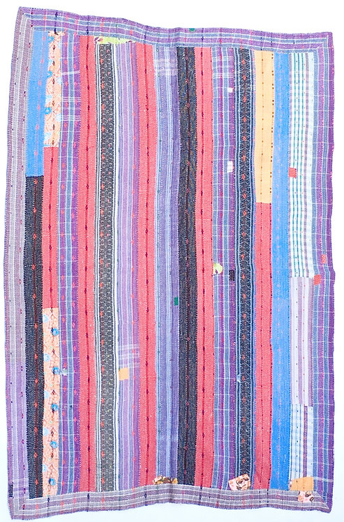 Vintage Kantha Cotton Quilt - Stripes