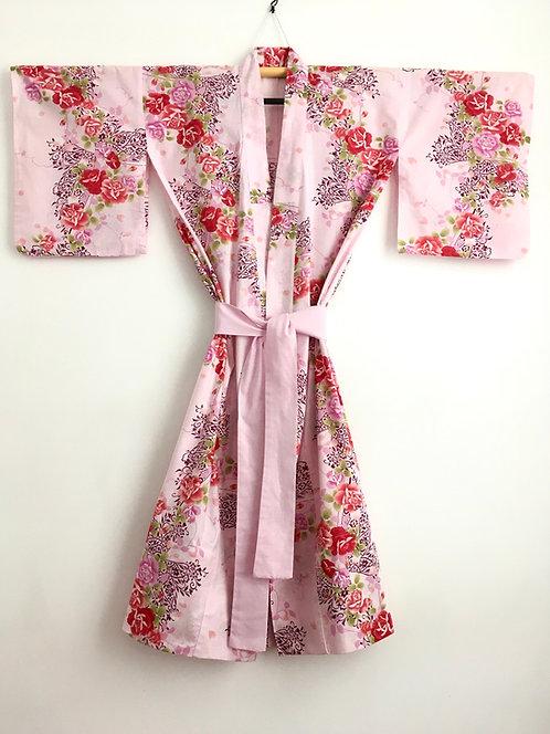 Pink Rose Print Vintage Japanese Cotton Kimono