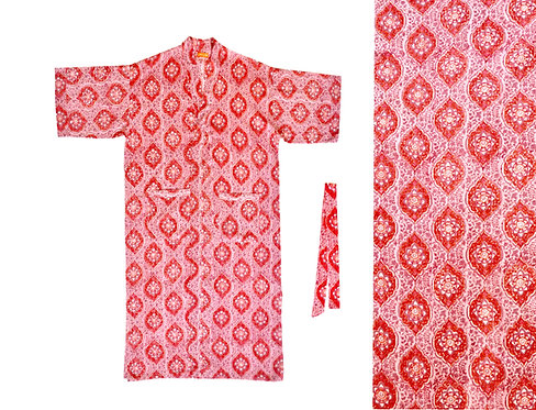 Cotton Block Print Dressing Gown -Red