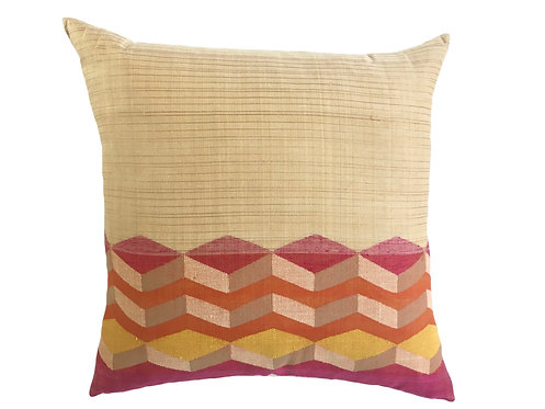 Jamdani Cushion Square - Red