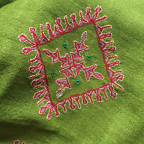 Olive Green Hand woven /embroidered Scarf -Gujarat